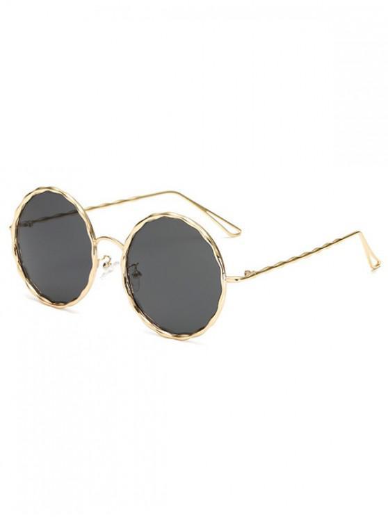 lady Round Rippled Metal Frame Stylish Sunglasses - BLACK