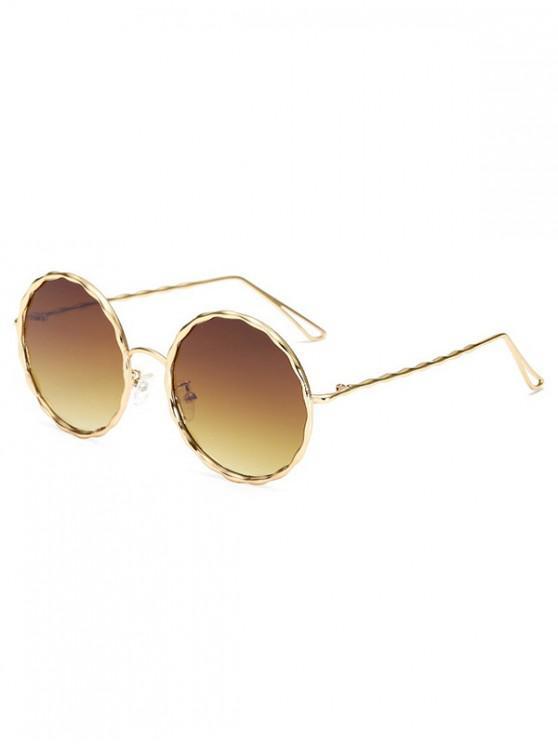 online Round Rippled Metal Frame Stylish Sunglasses - COFFEE