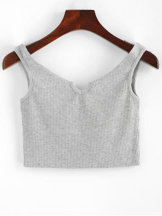fashion Ribbed V Neck Crop Tank Top - GRAY CLOUD ONE SIZE