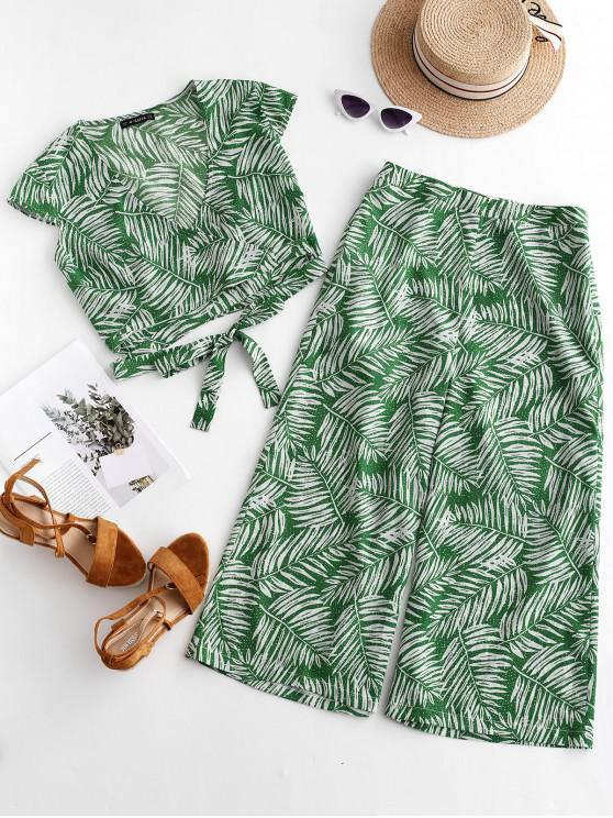 outfits ZAFUL Leaves Wrap Top and Loose Pants Set - GREEN L