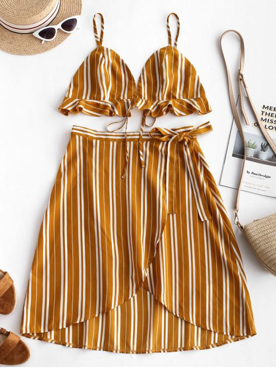 latest ZAFUL Striped Ruffles Top and Wrap Skirt Set - BEE YELLOW S