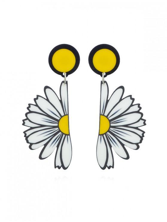shops Bohemian Daisy Flower Drop Earrings - WHITE