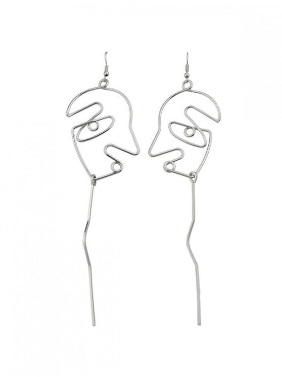 latest Abstract Face Alloy Earrings - SILVER