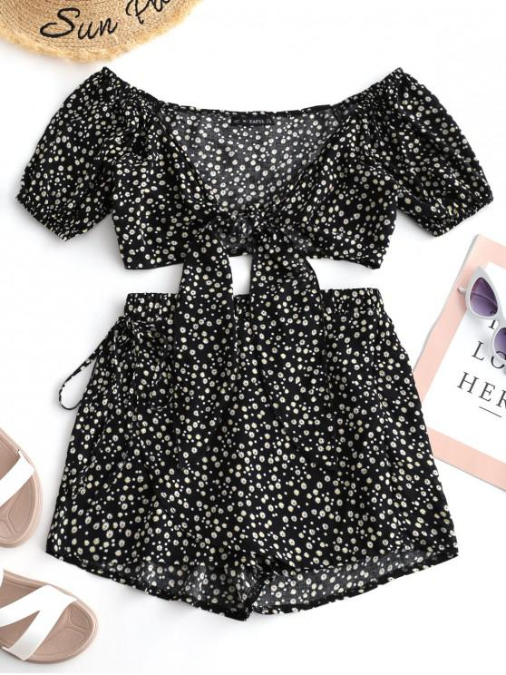 womens ZAFUL Tiny Floral Wrap Top and Shorts Set - BLACK S