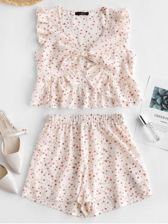 new ZAFUL Floral Print Knotted Top and Shorts Set - WHITE M