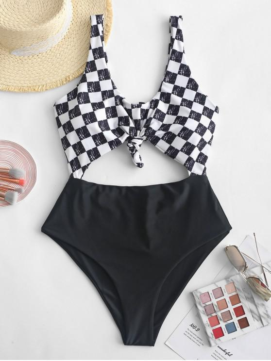 fashion ZAFUL Knot Checkered Cutout Swimsuit - BLACK L