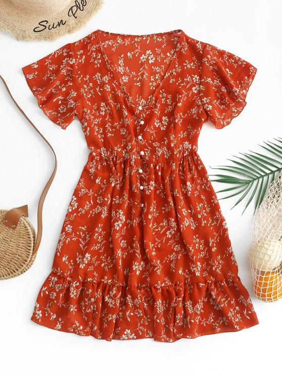 fashion ZAFUL Ruffles Half Buttoned Floral Mini Dress - CHESTNUT RED S