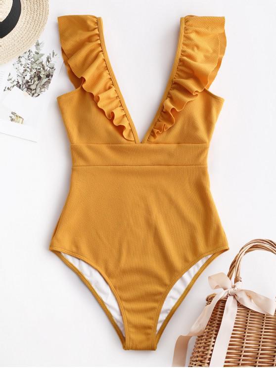 shop ZAFUL Ribbed Ruffle Plunge Swimsuit - RUBBER DUCKY YELLOW M