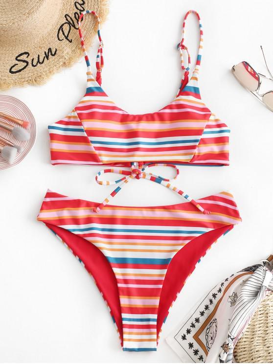 best ZAFUL Multicolor Stripe Bralette Bikini Set - MULTI-A S