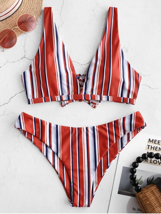 shop ZAFUL Lace-up Striped Plunge Bikini Set - MULTI-A M