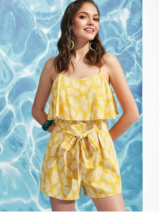 women's ZAFUL Belted Leaves Print Overlay Cami Romper - GOLDENROD XL