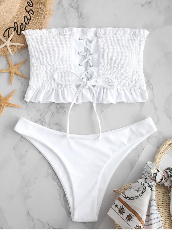 lady ZAFUL Smocked Lace Up Ruffle Bikini Set - WHITE M
