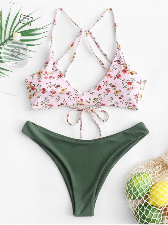 women's ZAFUL Tiny Floral Strappy High Leg Bikini Swimsuit - MULTI-A L