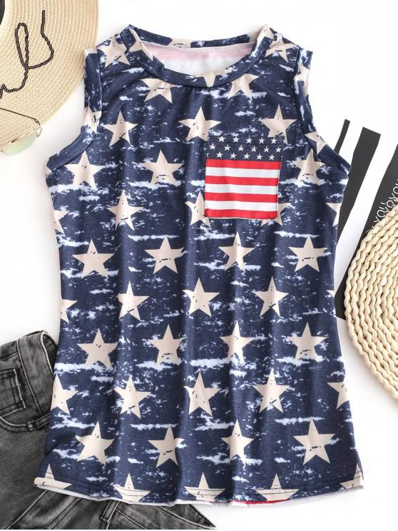 latest American Flag Print Pocket Tank Top - MULTI-A M
