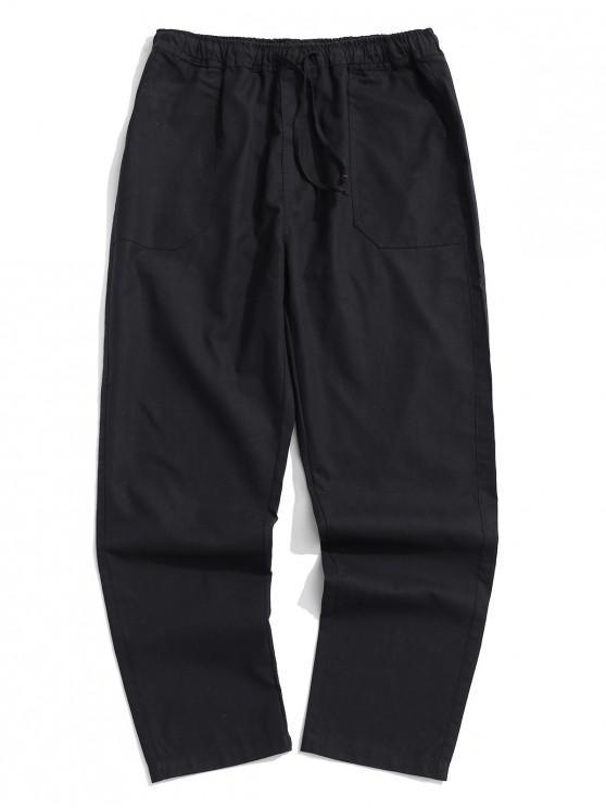 Pantalones casuales rectos de color sólido - Negro M