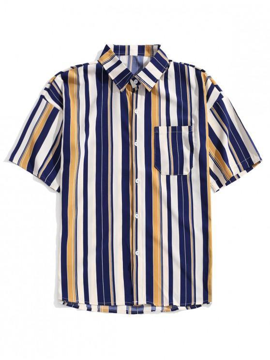 قميص عمودي مخطط الكتف - داكن سليت أزرق 2XL