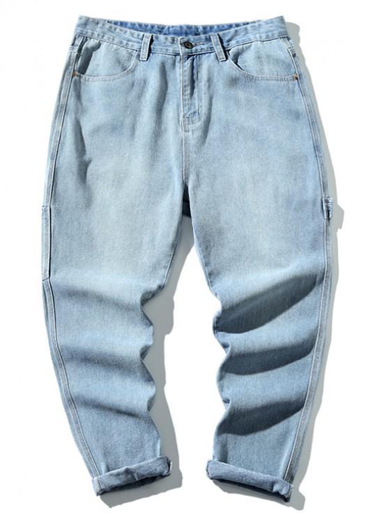 Pantalones de mezclilla rectos mosca de la cremallera - Azul de Jeans  L