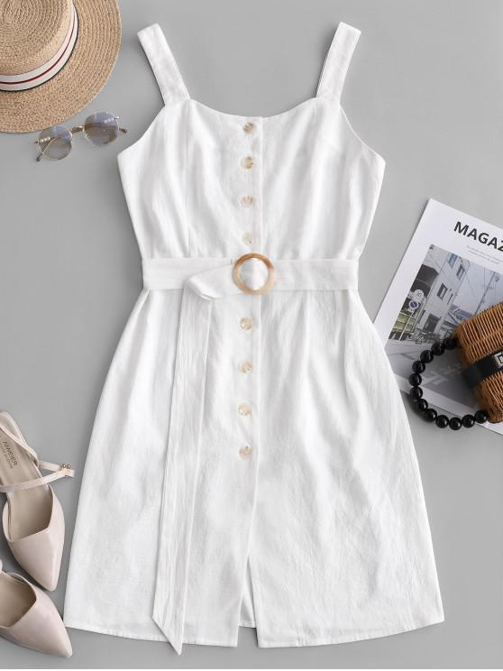 shops ZAFUL Square Neck Button Up Belted Dress - WHITE L