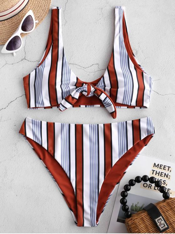 lady ZAFUL Multicolor Striped Tie Front Bikini Set - MULTI-A L