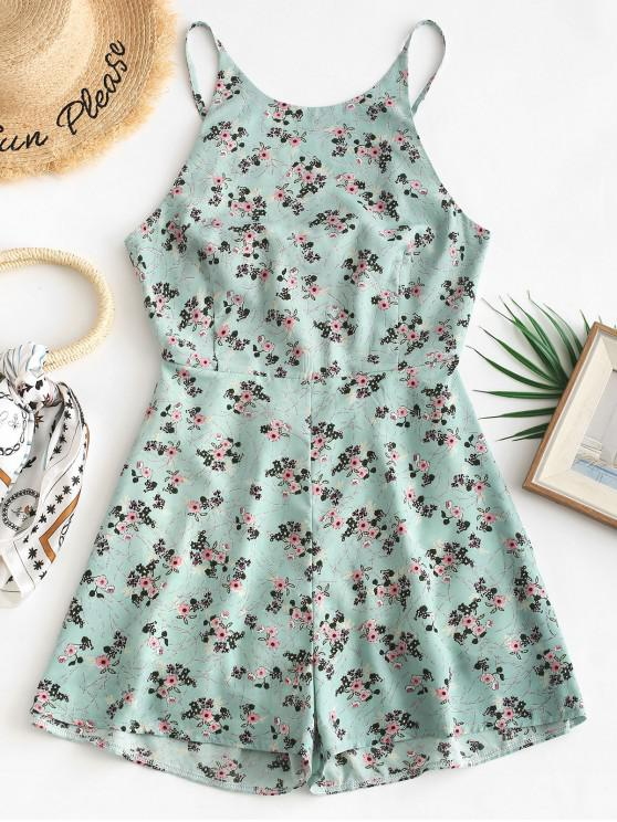 new ZAFUL Tied Back Floral Cami Romper - CYAN OPAQUE L