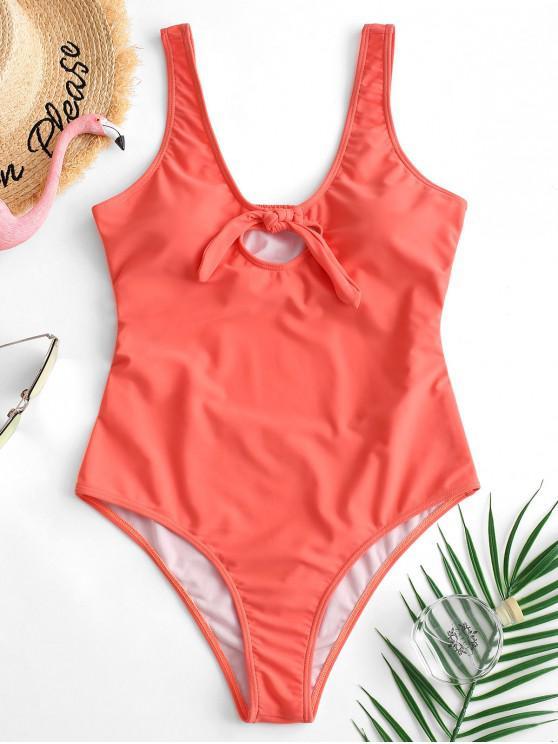 buy ZAFUL Knot Shirred Cutout Swimsuit - ORANGE PINK XL