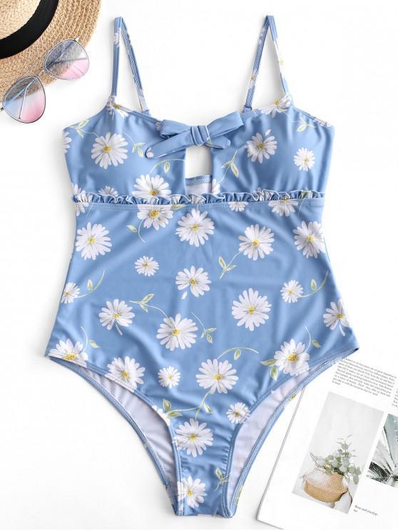 chic ZAFUL Daisy Keyhole Frill Swimsuit - BABY BLUE XL
