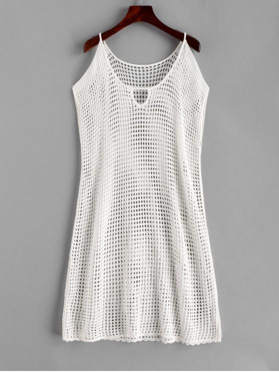 ladies Crochet Keyhole Cold Shoulder Dress - WHITE M