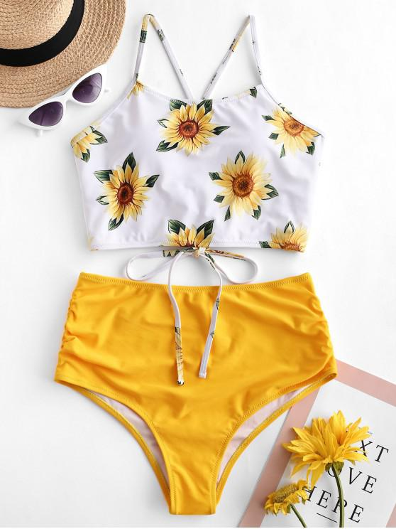 buy ZAFUL Crisscross Ruched Sunflower Tankini Set - BRIGHT YELLOW M