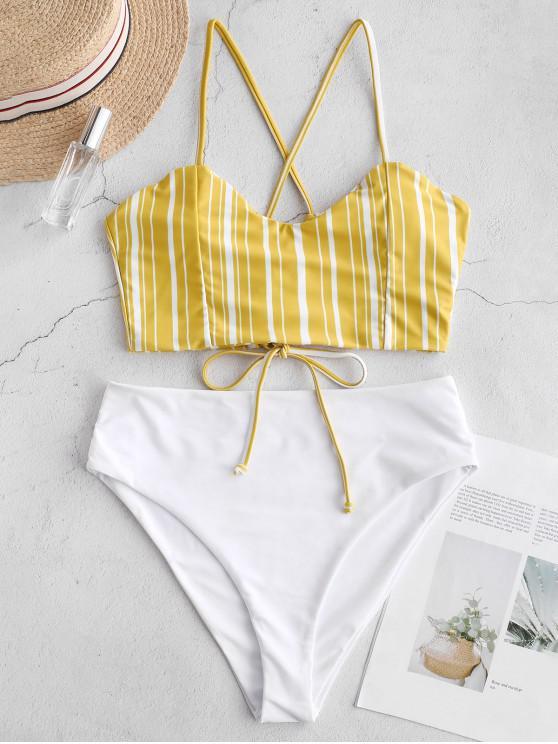 buy ZAFUL Crisscross Lace-up Striped Tankini Set - BRIGHT YELLOW M