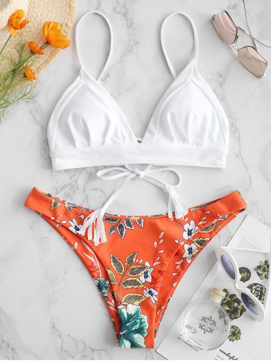 ladies ZAFUL Plant Print Lace-up Bikini Set - WHITE L