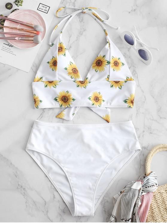 shop ZAFUL Sunflower Halter Tankini Set - WHITE S