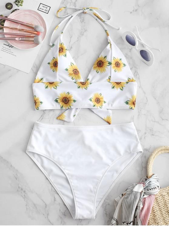 outfit ZAFUL Sunflower Halter Tankini Set - WHITE M