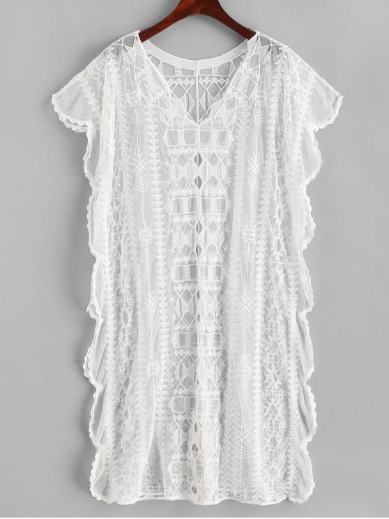 women's Crochet Hollow Out Batwing Sleeve Beach Dress - WHITE ONE SIZE
