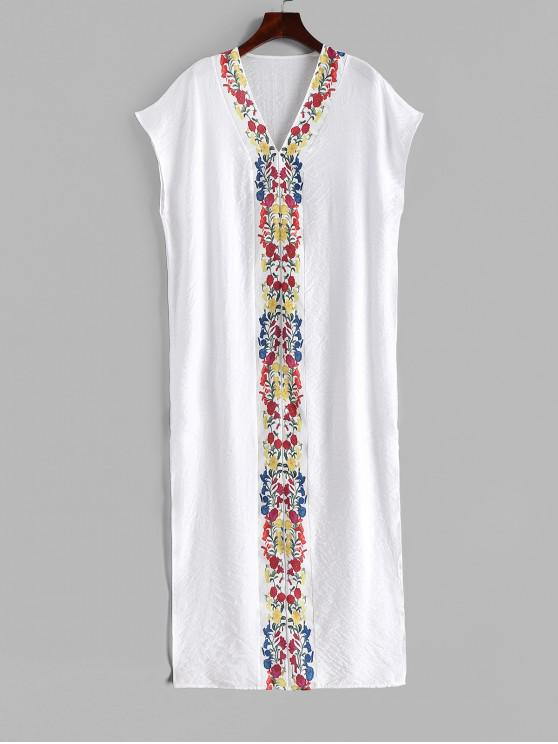 latest Flower Slit Batwing Sleeve Maxi Dress - WHITE M