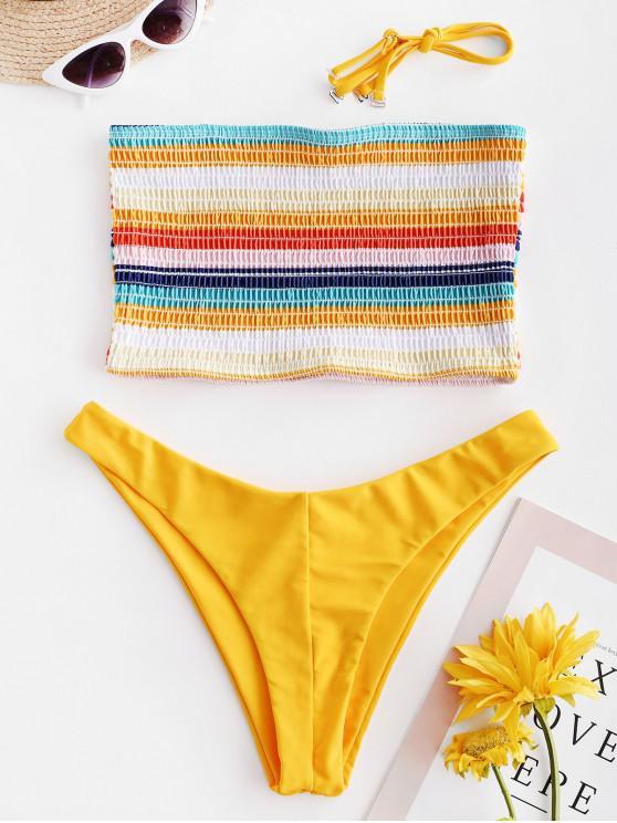 trendy ZAFUL Colorful Striped Smocked Bikini Set - BRIGHT YELLOW M