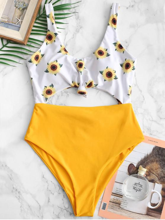 women ZAFUL Knot Sunflower Cut Out Swimsuit - RUBBER DUCKY YELLOW S