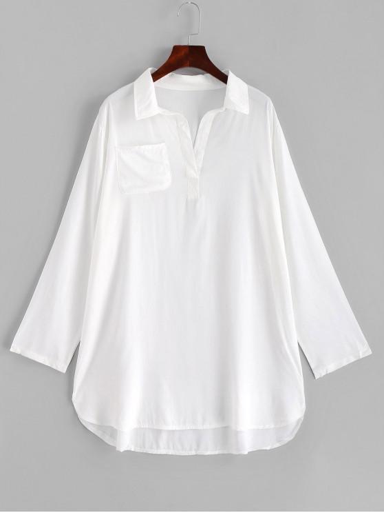 affordable Pocket Long Sleeve Mini Beach Dress - WHITE ONE SIZE