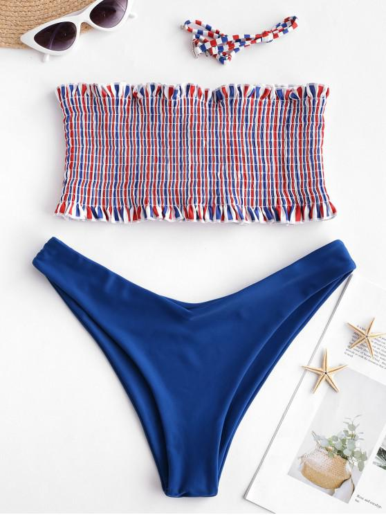 hot ZAFUL Lace-up Multicolor Striped Smocked Bikini Set - SILK BLUE L