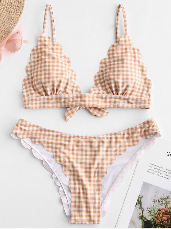 chic ZAFUL Plaid Scalloped Tie Back Bikini Set - SANDY BROWN S