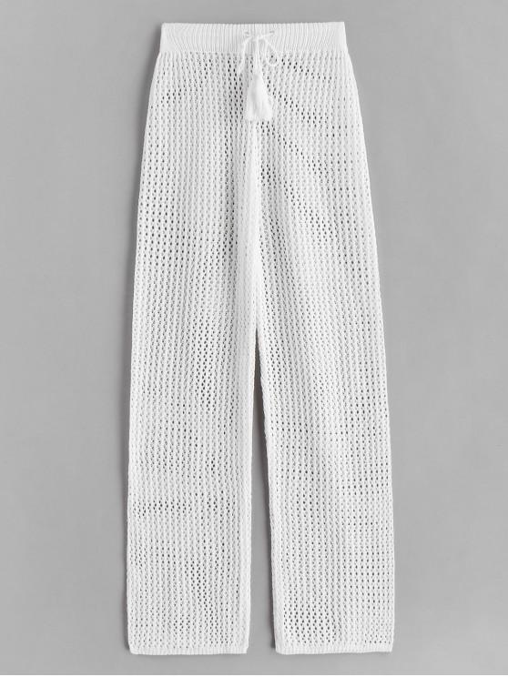 latest Drawstring Crochet Straight Pants - WHITE ONE SIZE