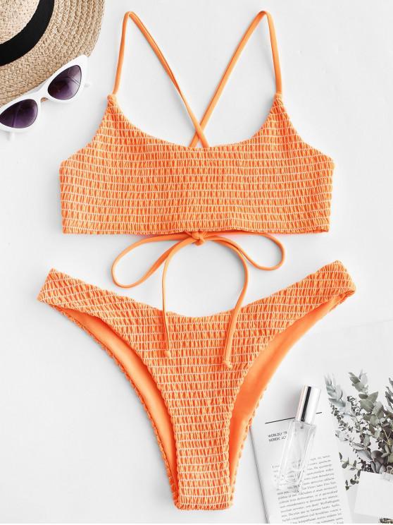 lady ZAFUL Crisscross Neon Smocked Bikini Set - ORANGE M