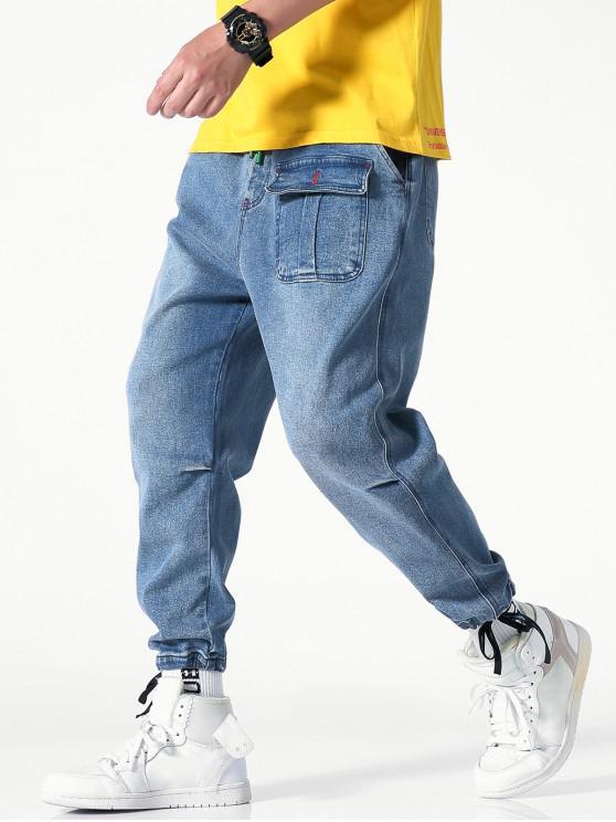 unique Drawstring Casual Jogger Jeans - JEANS BLUE S