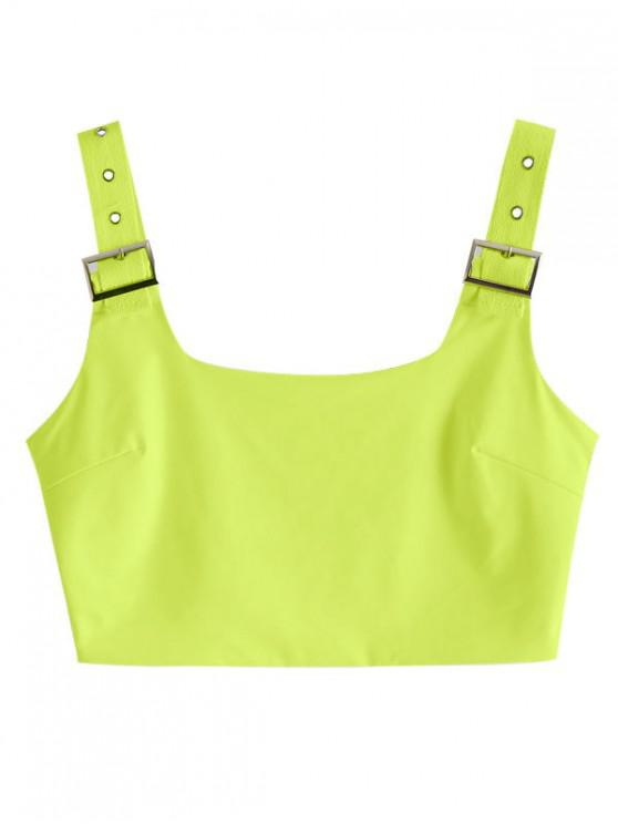 affordable Buckle Square Neck Crop Tank Top - TEA GREEN S