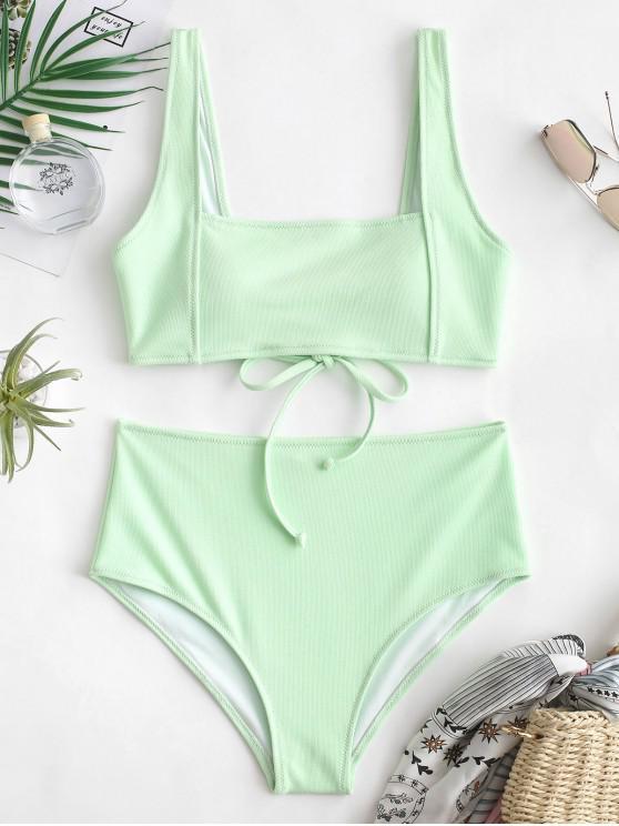 0b21569487 32% OFF] [HOT] 2019 ZAFUL Textured Tie Tank Bikini Set In MINT GREEN ...