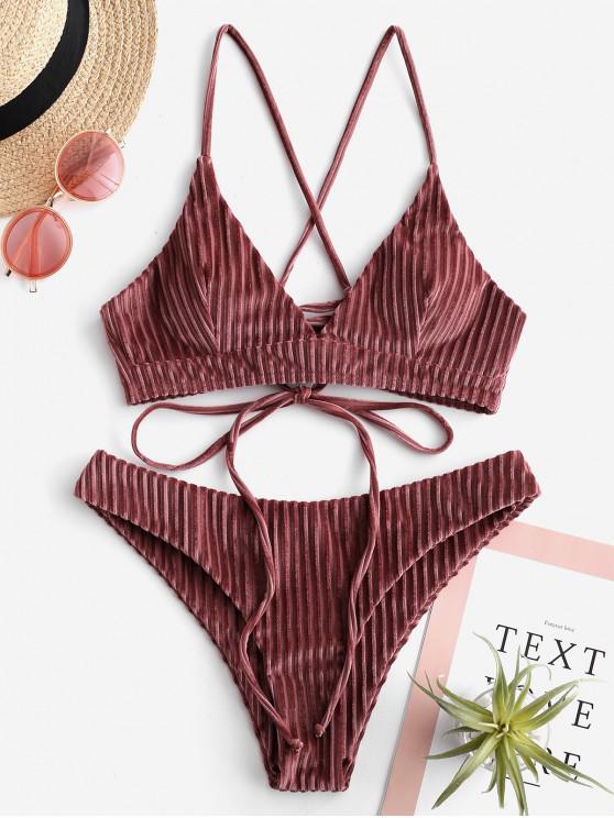 shops ZAFUL Velvet Ribbed Lace Up Bikini Set - LIPSTICK PINK S