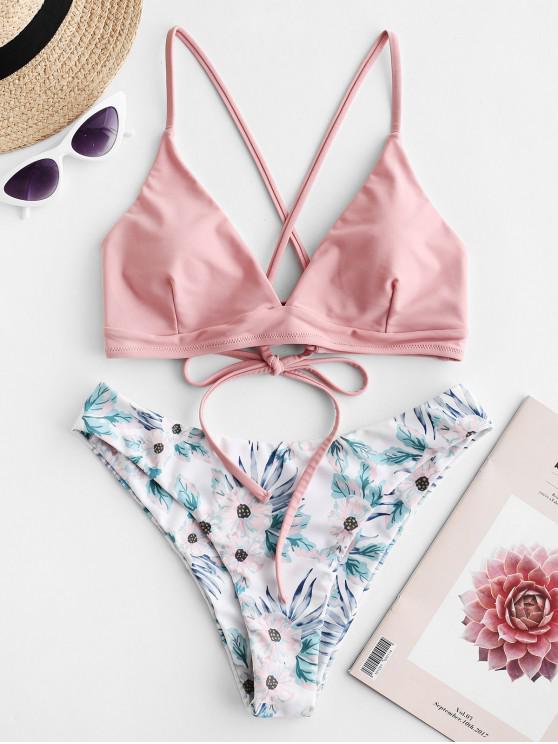 hot ZAFUL Criss Cross Floral Padded Bikini Set - LIGHT PINK S