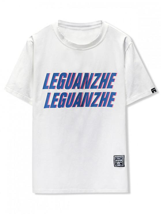 Camiseta con estampado gráfico y carta - Blanco L
