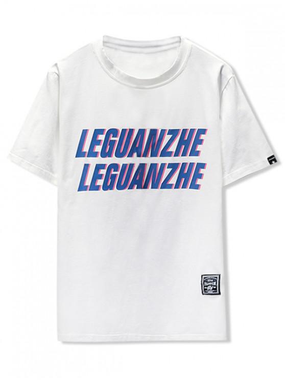 T-shirt avec imprimé graphique et lettres - Blanc 2XL