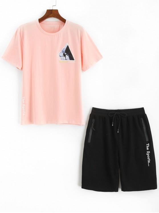 Camiseta estampada con letras gráficas Pantalones cortos Trajes deportivos - Rosado M