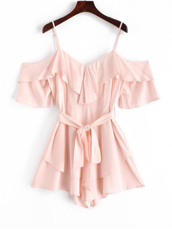 ZAFUL Overlay Cinch Wide Leg Cami Romper - Rosa Sakura  S